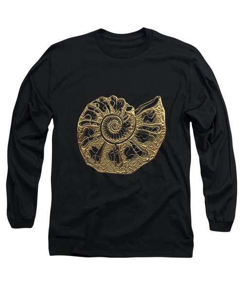 Long Sleeve T-Shirt featuring the digital art Fossil Record - Golden Ammonite Fossil On Square Black Canvas #4 by Serge Averbukh