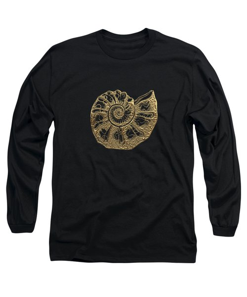 Fossil Record - Golden Ammonite Fossil On Square Black Canvas #4 Long Sleeve T-Shirt