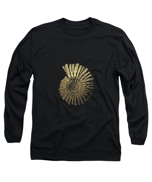 Fossil Record - Golden Ammonite On Black  Long Sleeve T-Shirt