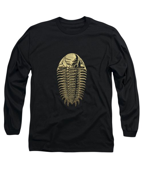 Fossil Record - Golden Trilobite On Black No. 3 Long Sleeve T-Shirt