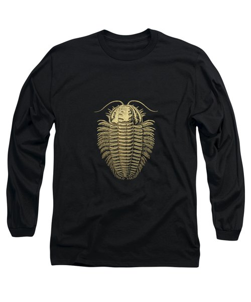 Fossil Record - Golden Trilobite On Black No.1 Long Sleeve T-Shirt