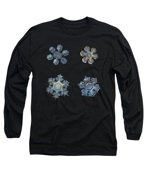 Four Snowflakes On Black 2 Long Sleeve T-Shirt