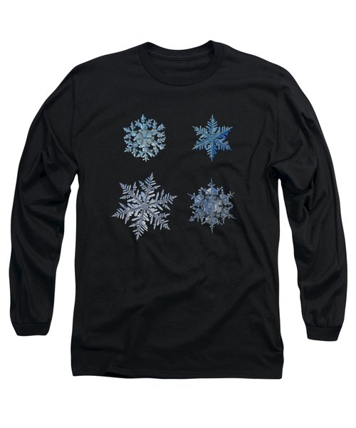 Long Sleeve T-Shirt featuring the photograph Four Snowflakes On Black Background by Alexey Kljatov