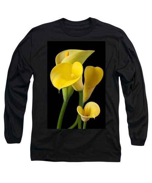 Four Yellow Calla Lilies Long Sleeve T-Shirt by Garry Gay
