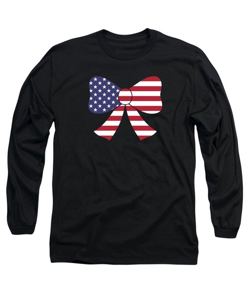 Fourth Of July Bow Usa Flag Gift Long Sleeve T-Shirt