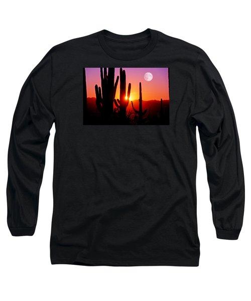 Fourth Sunset At Saguaro Long Sleeve T-Shirt by John Hoffman