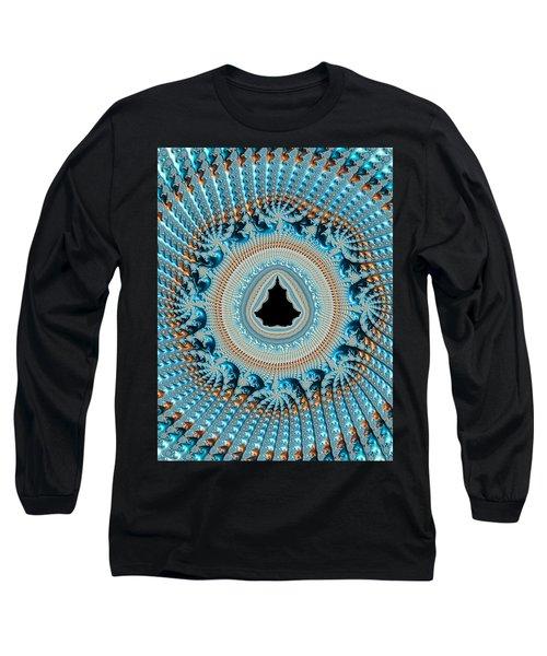Fractal Art Crochet Style Blue And Gold Long Sleeve T-Shirt