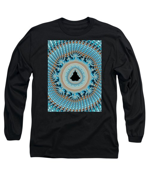 Fractal Art Crochet Style Blue And Gold Long Sleeve T-Shirt