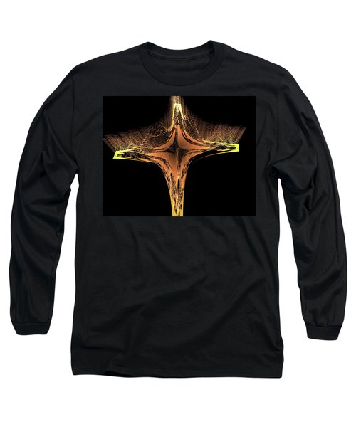 Long Sleeve T-Shirt featuring the digital art Fractal Cross Golden And Yellow by Matthias Hauser