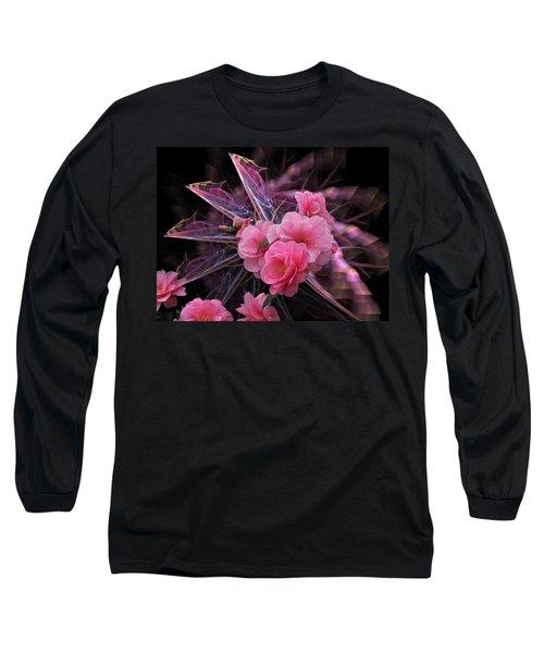 Fractal Meets Camellia  Long Sleeve T-Shirt