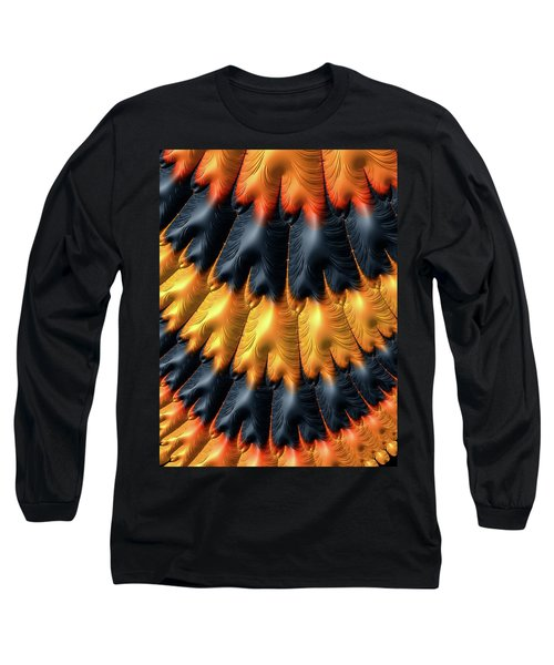 Long Sleeve T-Shirt featuring the digital art Fractal Pattern Orange And Black by Matthias Hauser