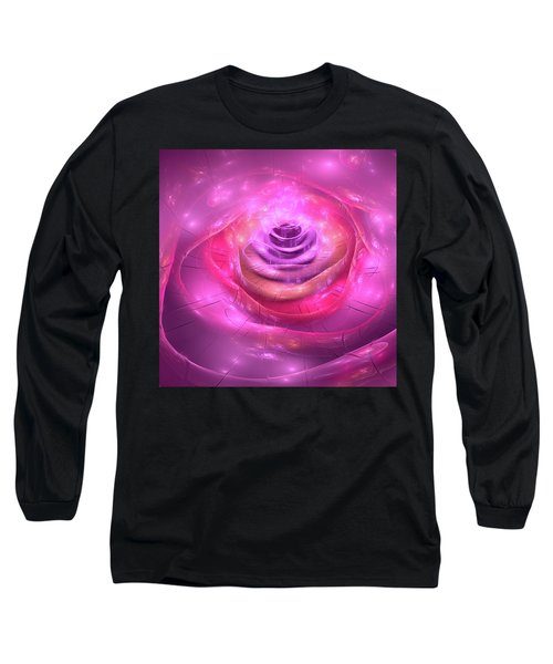 Fractal Rose Pink Purple And Orchid Long Sleeve T-Shirt