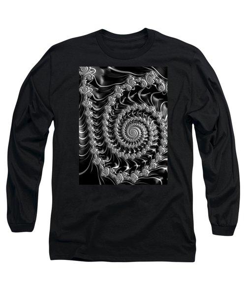 Fractal Spiral Gray Silver Black Steampunk Style Long Sleeve T-Shirt by Matthias Hauser