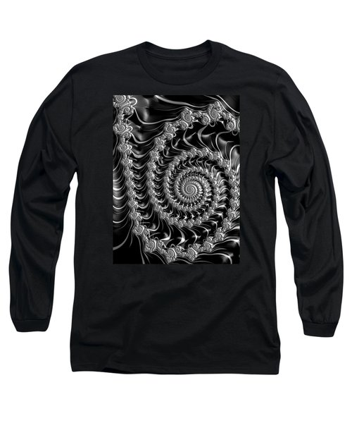 Fractal Spiral Gray Silver Black Steampunk Style Long Sleeve T-Shirt