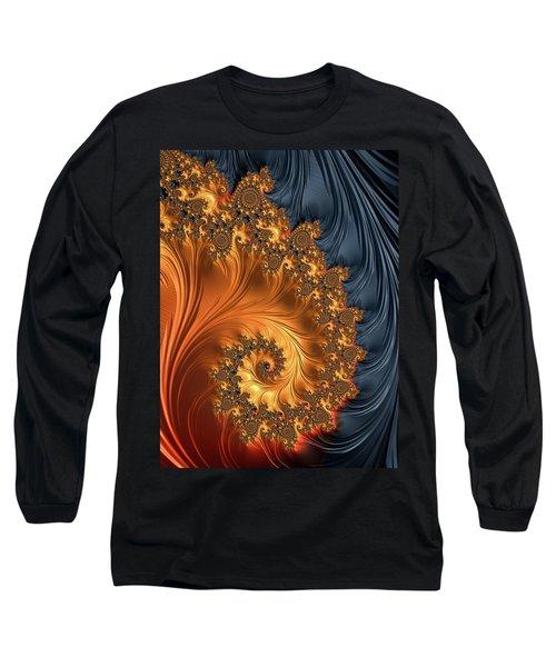 Long Sleeve T-Shirt featuring the digital art Fractal Spiral Orange Golden Black by Matthias Hauser