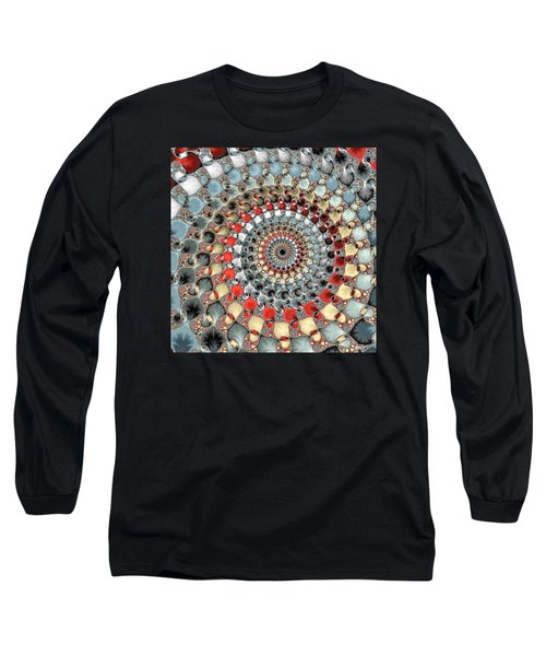 Fractal Spiral Red Grey Light Blue Square Format Long Sleeve T-Shirt by Matthias Hauser