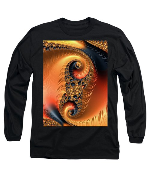 Long Sleeve T-Shirt featuring the digital art Fractal Spirals With Warm Colors Orange Coral by Matthias Hauser