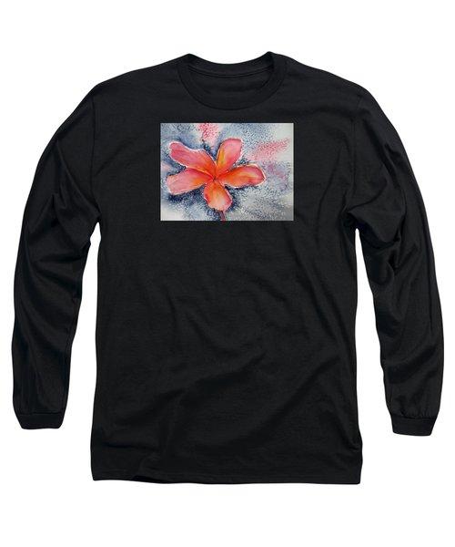 Frangipani Blue Long Sleeve T-Shirt by Elvira Ingram