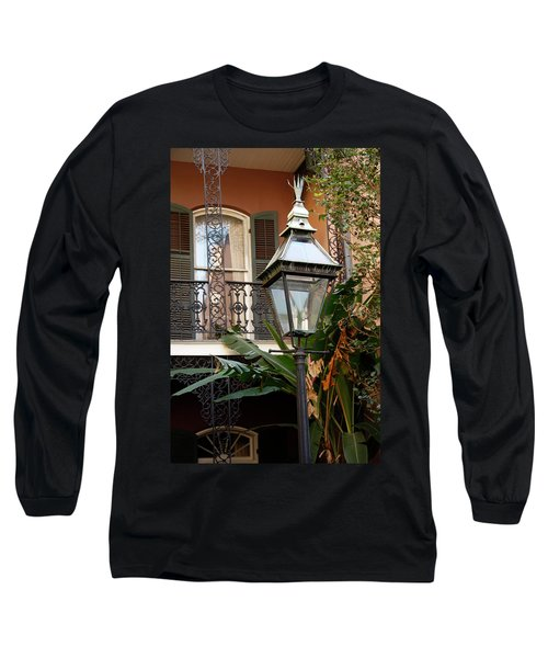 Long Sleeve T-Shirt featuring the photograph French Quarter Courtyard by KG Thienemann