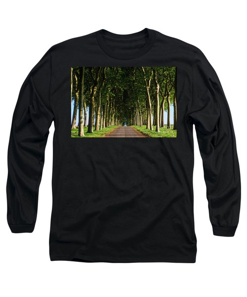 French Tree Lined Country Lane Long Sleeve T-Shirt