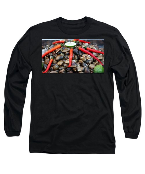 Long Sleeve T-Shirt featuring the photograph Fresh Clams With Chilies And Limes by Yali Shi