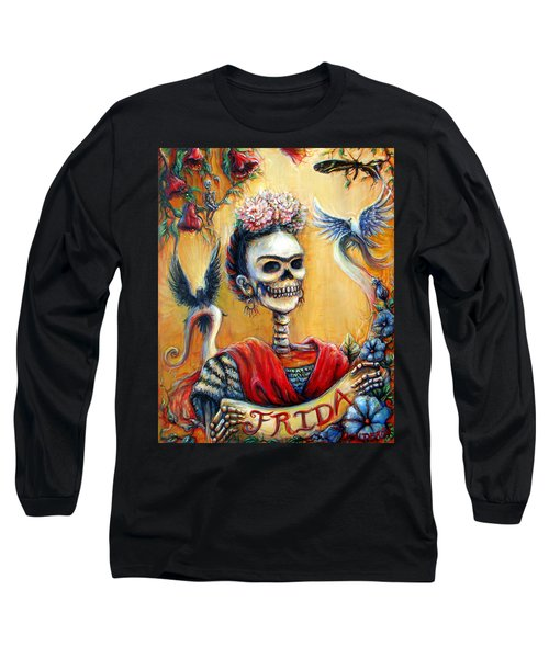 Long Sleeve T-Shirt featuring the painting Frida by Heather Calderon