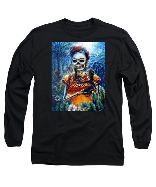 Long Sleeve T-Shirt featuring the painting Frida In The Moonlight Garden by Heather Calderon