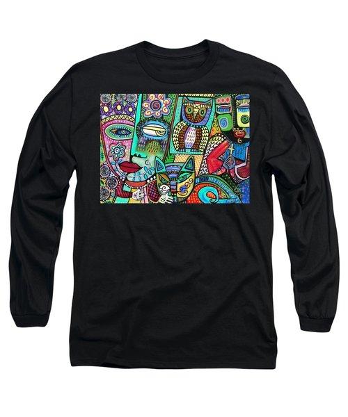 -frida's Garden Owl And Cat Long Sleeve T-Shirt
