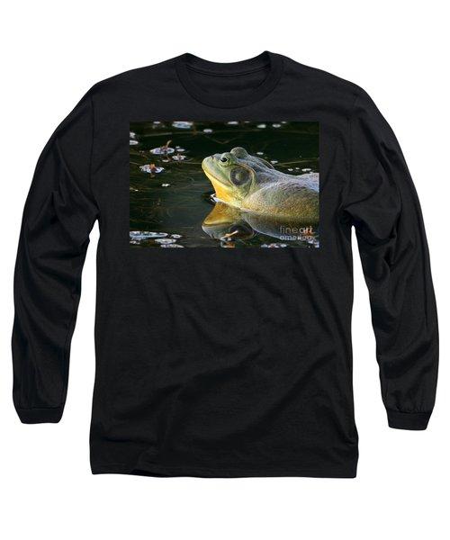 Frog At Sunset Long Sleeve T-Shirt by Paula Guttilla
