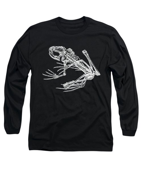 Frog Skeleton In Silver On Black  Long Sleeve T-Shirt by Serge Averbukh