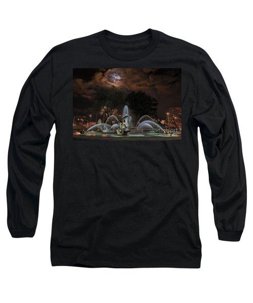 Full Moon At The Fountain Long Sleeve T-Shirt by Lynn Sprowl