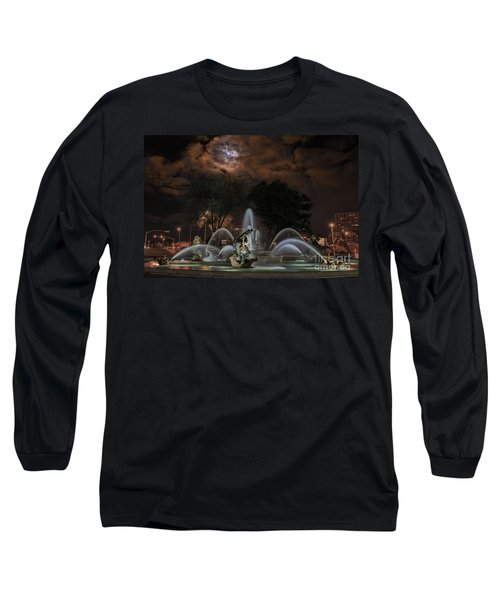Full Moon At The Fountain Long Sleeve T-Shirt