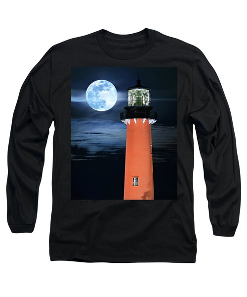 Full Moon Closeup Next To Jupiter Lighthouse In Florida Long Sleeve T-Shirt