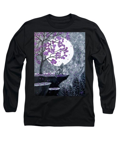 Long Sleeve T-Shirt featuring the painting Full Moon Magic by Teresa Wing