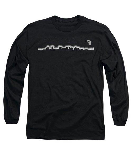 Full Moon Over Boston Skyline Black And White Long Sleeve T-Shirt