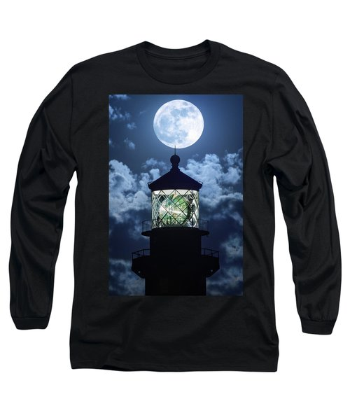 Full Moon Over Hillsboro Lighthouse In Pompano Beach Florida  Long Sleeve T-Shirt by Justin Kelefas
