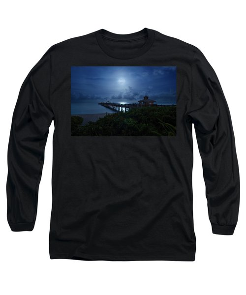 Full Moon Over Juno Beach Pier Long Sleeve T-Shirt