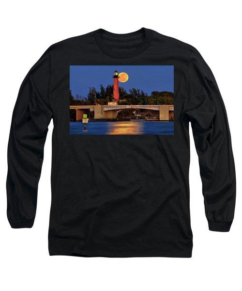 Full Moon Over Jupiter Lighthouse, Florida Long Sleeve T-Shirt by Justin Kelefas