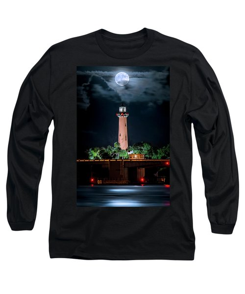 Full Moon Over Jupiter Lighthouse On Christmas Night 2015 Long Sleeve T-Shirt