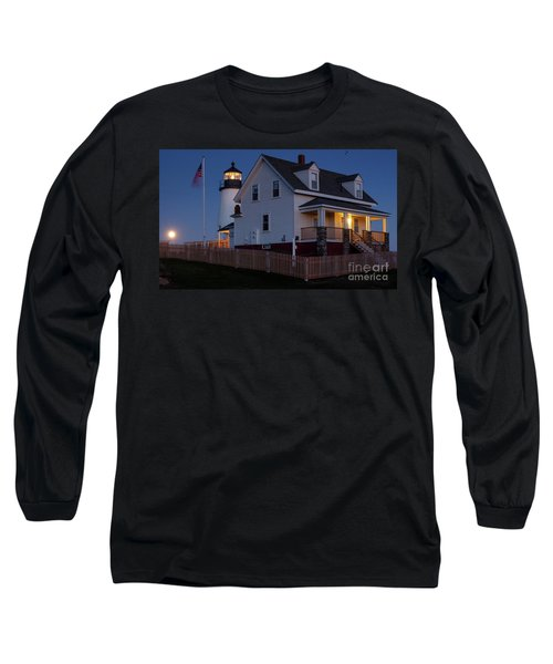 Long Sleeve T-Shirt featuring the photograph Full Moon Rise At Pemaquid Light, Bristol, Maine -150858 by John Bald