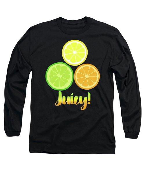 Fun Juicy Orange Lime Lemon Citrus Art Long Sleeve T-Shirt by Tina Lavoie