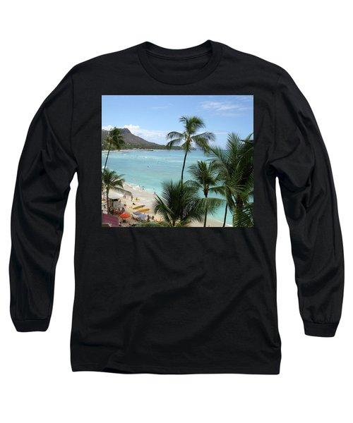 Fun Times On The Beach In Waikiki Long Sleeve T-Shirt by Karen Nicholson