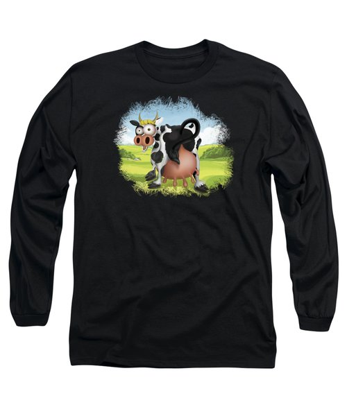 Long Sleeve T-Shirt featuring the drawing Funny Cow by Julia Art