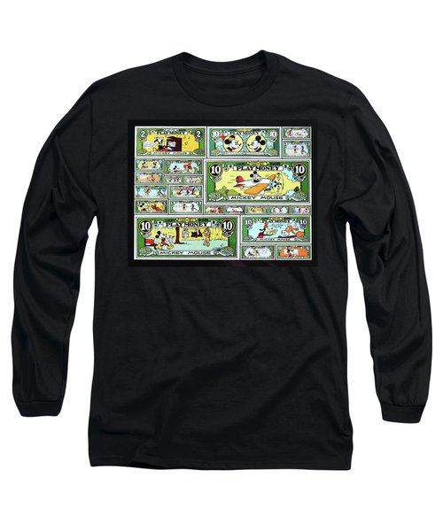 Funny Money Collage Long Sleeve T-Shirt by Joseph Hawkins