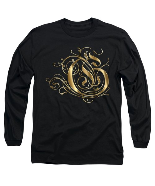 G Ornamental Letter Gold Typography Long Sleeve T-Shirt by Georgeta Blanaru