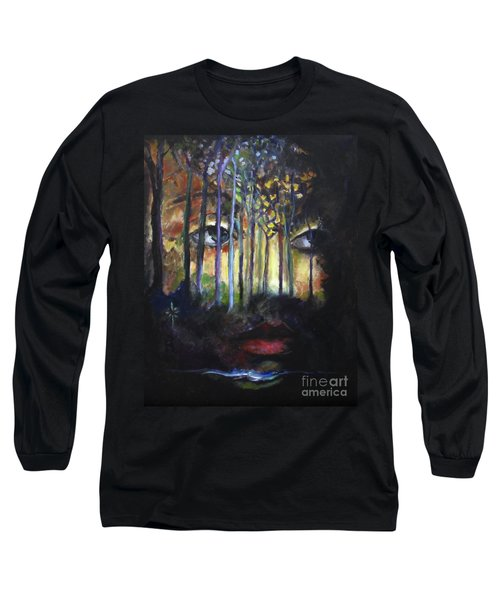 Long Sleeve T-Shirt featuring the painting Gaia by Jodie Marie Anne Richardson Traugott          aka jm-ART