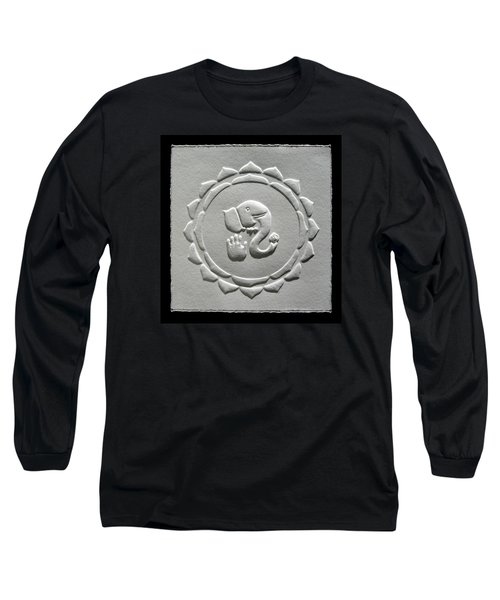 Long Sleeve T-Shirt featuring the relief Ganesha Blessings by Suhas Tavkar