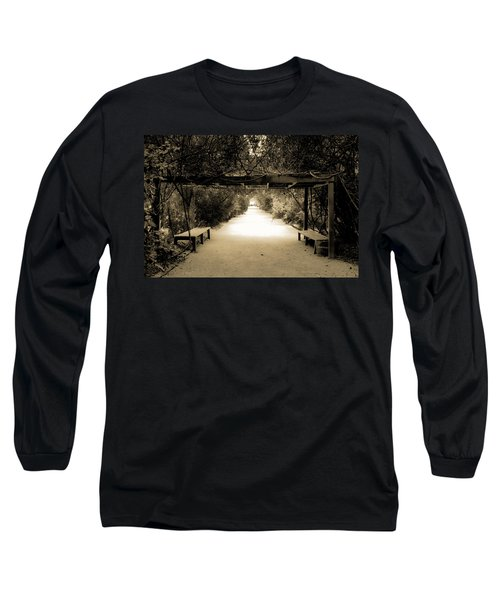 Garden Arbor In Sepia Long Sleeve T-Shirt by DigiArt Diaries by Vicky B Fuller
