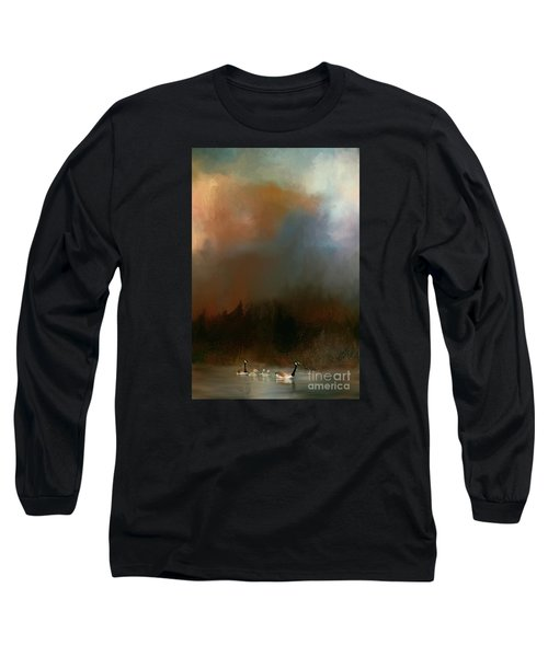 Geese On A Nh Lake Long Sleeve T-Shirt by Mim White