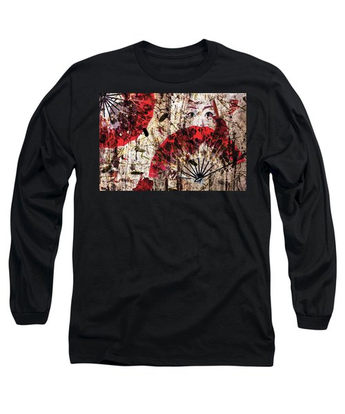 Long Sleeve T-Shirt featuring the digital art Geisha Grunge by Paula Ayers